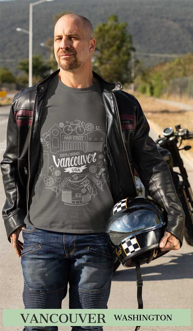 Vancouver Main Street T shirt of man on a motorcyle