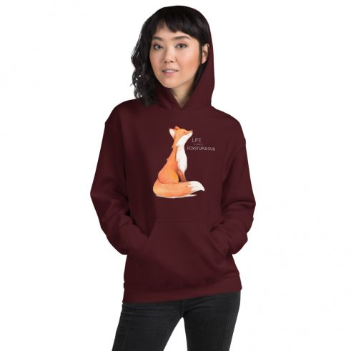 Vancouver Wa Hoodie - with a cute fox and the words, Life is simply, foxstupulous