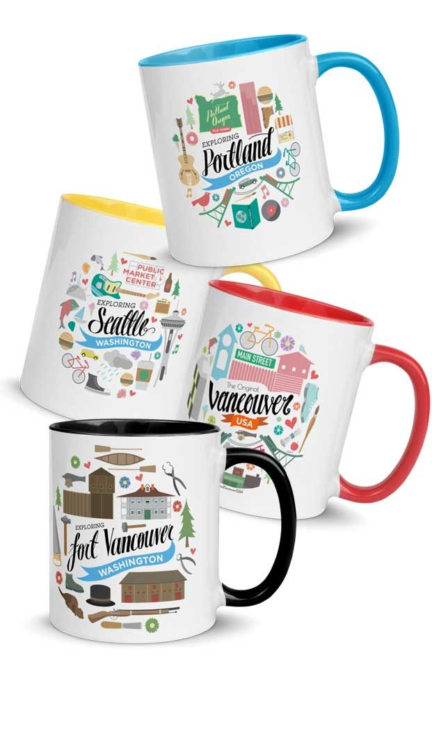 4 colorful mugs of Pacific Northwest